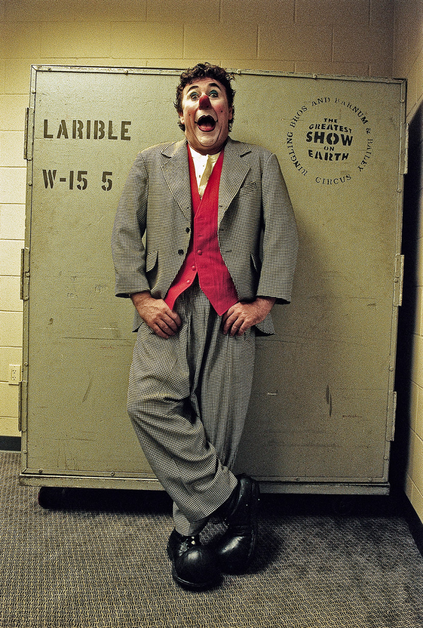 """August 2005, Houston-Texas: Italian Clown David Larible during his tournee in USA at Ringling Barnum & Bailey and Brothers Circus - from the book """"A Poet in Action"""" © by Gianluigi Di Napoli"""