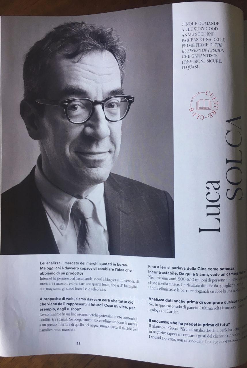 Luca Solca, Luxury Good Analist per BNP Paribas, ritratto da Gianluigi Di Napoli per Icon Magazine