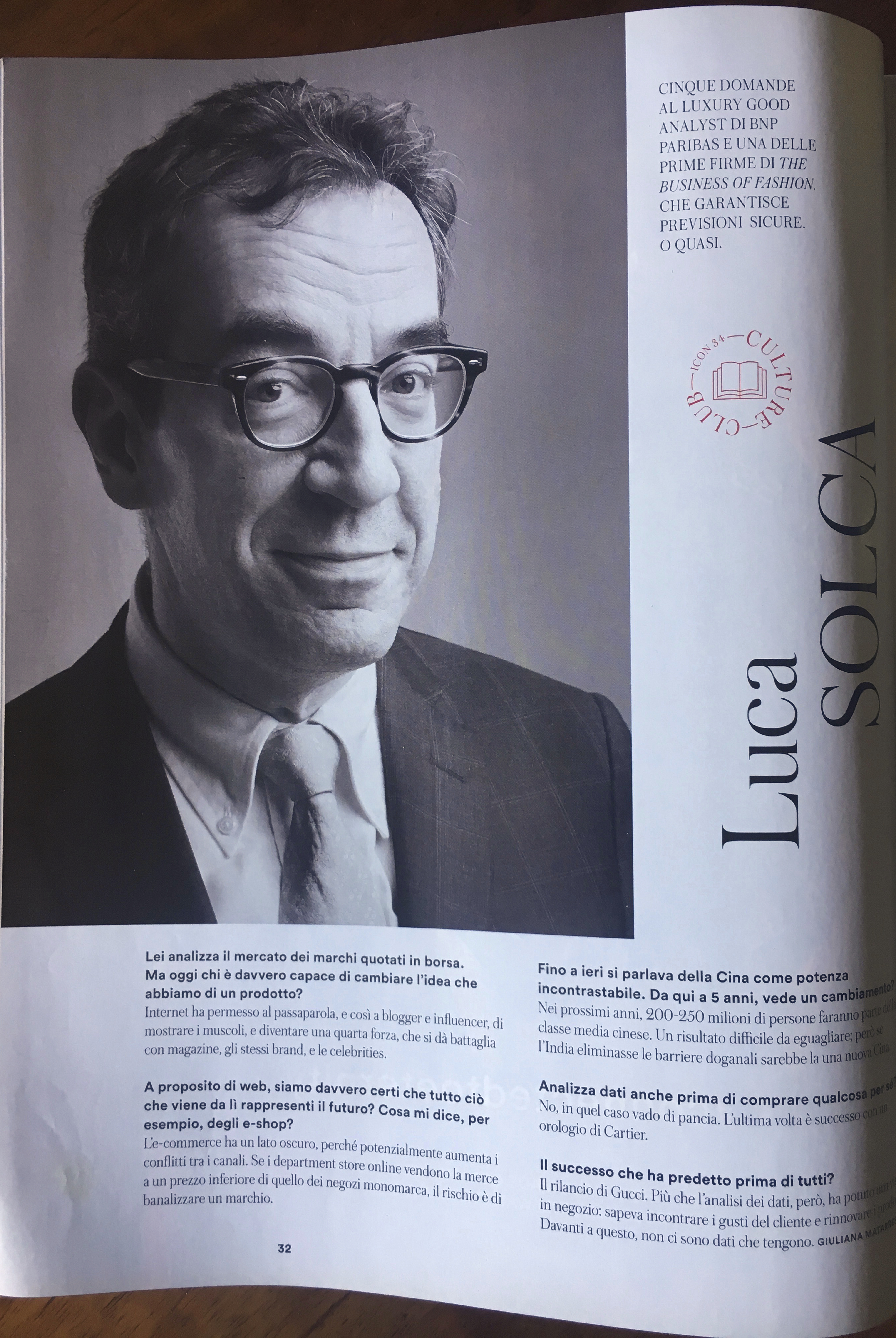 Luca Solca, Luxury Good Analist per BNP Paribas, ritratto da Gianluigi Di Napoli per Icon Magazine